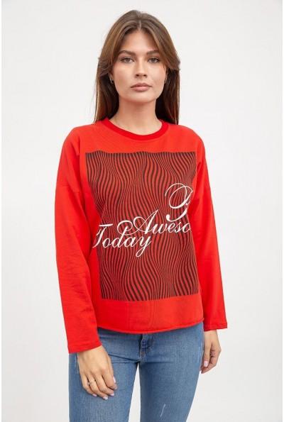 Свитшот женский, красный, трикотажный, обрезной низ AG-0009630 с черно-белым принтом