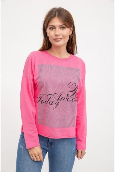 Розовый свитшот женский трикотажный, обрезной низ AG-0009630  с черно-белым принтом 3960