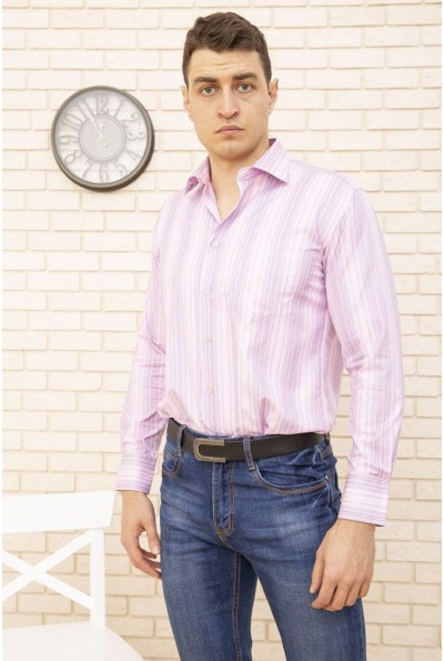 Рубашка мужская  серо-розовая в полоску 9021-1