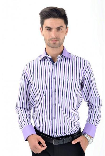Рубашка классическая белая с сиреневой полоской 9022-3