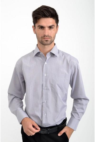 Рубашка мужская серо-белая, в мелкую клетку 9#LS