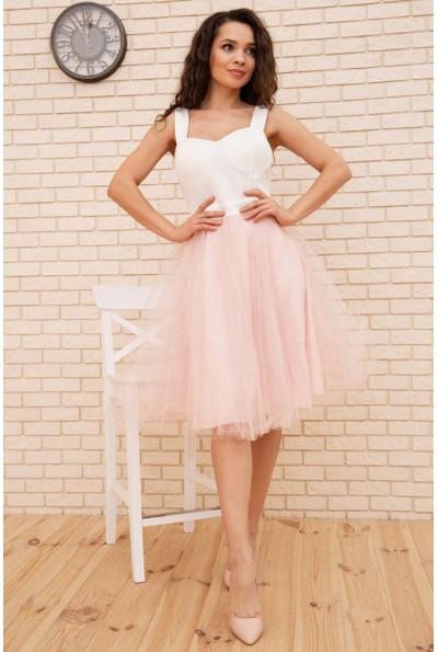 Платье с фатиновой юбкой на бретелях цвет Пудровый 167R1648 56409