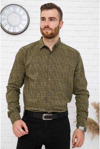 Рубашка мужская хаки натуральный хлопок 511F015 цвет Хаки 3537
