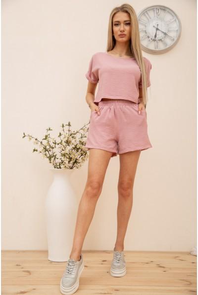 Повседневный женский костюм футболка и шорты Пудровый 119R403 56601