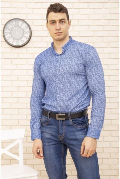 Голубая рубашка мужская хлопковая 511F015 3535