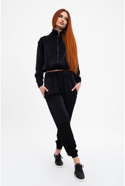 Спортивный костюм женский, однотонный, черный 103R2004