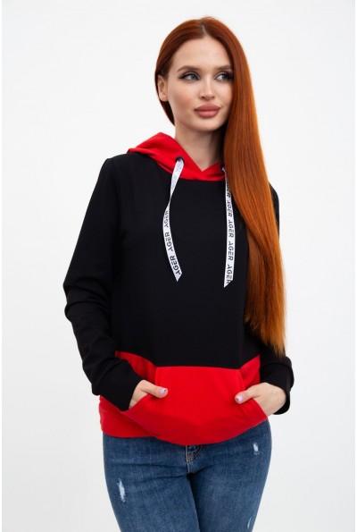 Худи женское 102R051 цвет Черно-красный