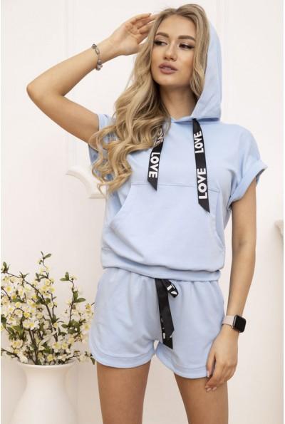 Костюм женский укороченный худи и шорты цвет Голубой 102R054-2 52848