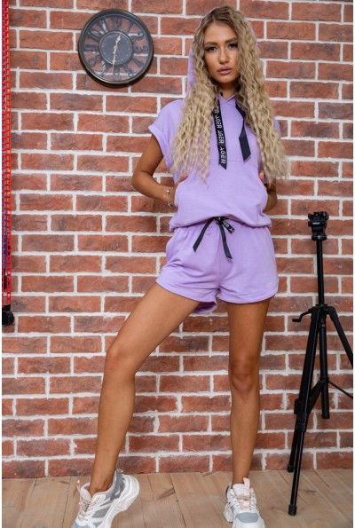Костюм женский укороченный худи и шорты цвет Сиреневый 102R054-2