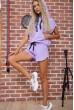Костюм женский укороченный худи и шорты цвет Сиреневый 102R054-2 недорого