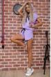 Костюм женский укороченный худи и шорты цвет Сиреневый 102R054-2 стоимость