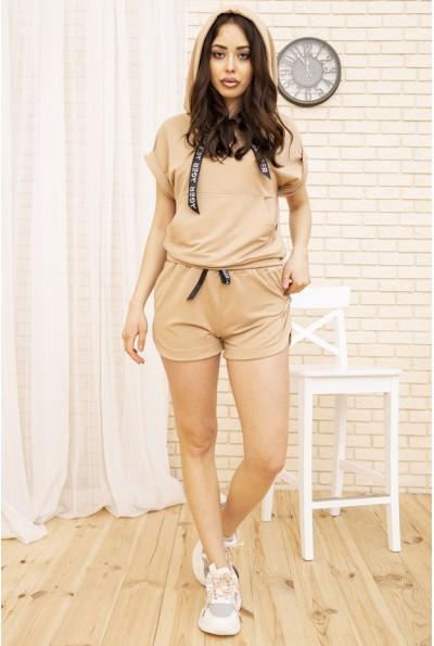 Костюм женский укороченный худи и шорты цвет Мокко 102R054-2