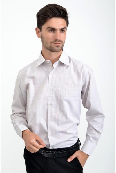 Рубашка мужская в клетку бежевая 113RPass007