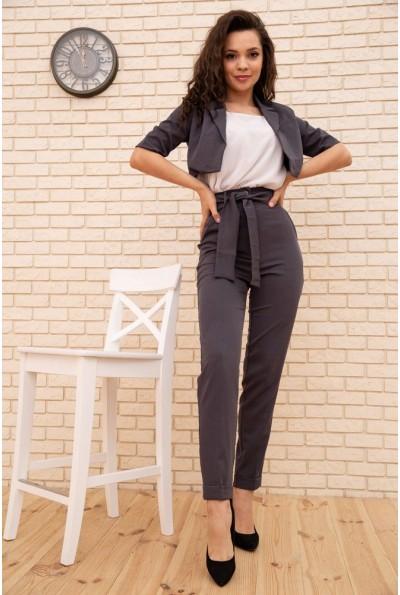 Женский костюм укороченный жакет и брюки цвет Серый 167R1826
