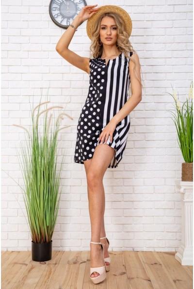 Летнее женское платье в горох и полоску цвет Черно-белый 104R0002 57493