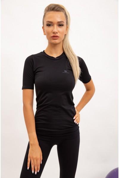 Футболка женская спортивная, черная 117R061-3
