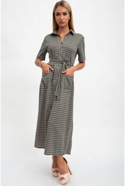 Платье женское, летнее, хлопковое, хаки 115R3731
