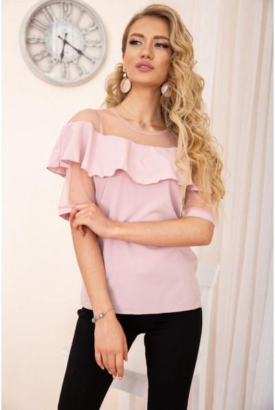 Блузка с воланами на плечах цвет Пудровый 172R46-1 56345
