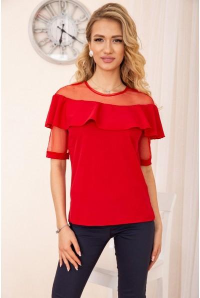 Блузка с воланами на плечах цвет Красный 172R46-1 55716