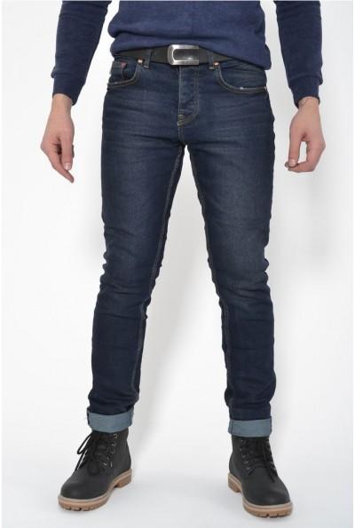 Темно-синие мужские джинсы с подворотами, стрейчевые Slim 123R18538
