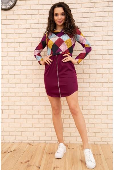 Платье мини с геометрическим принтом цвет Бордовый 167R1805 56250