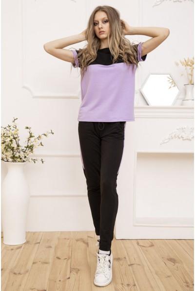 Костюм женский двунитка футболка и штаны Сиреневый 102R184 53187