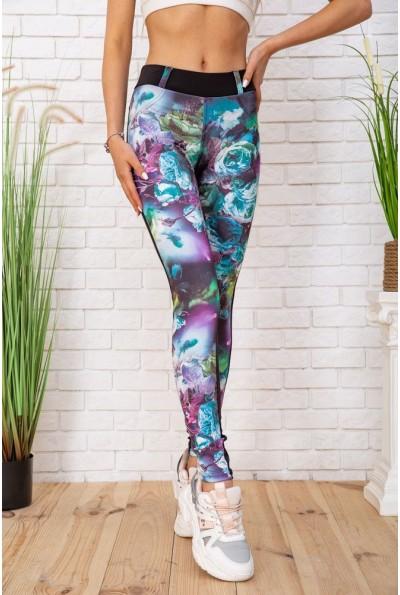 Женские леггинсы с карманами в цветочный принт цвет Черный 172R202 57362