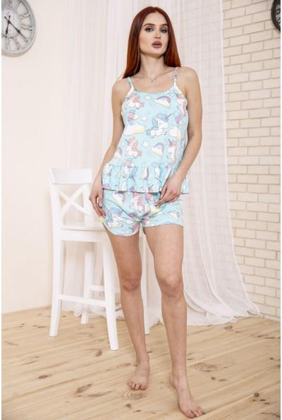 Женская пижама с единорогами мятного цвета 114R19008