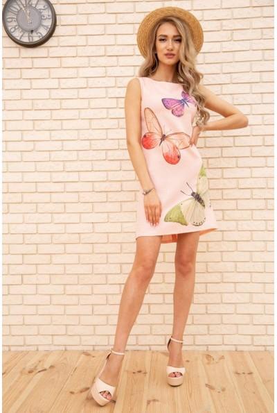 Короткое летнее платье с бабочками цвет Персиковый 172R021-1 55811