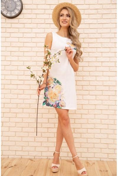 Короткое летнее платье с цветами Розы цвет Белый 172R016-1 55818