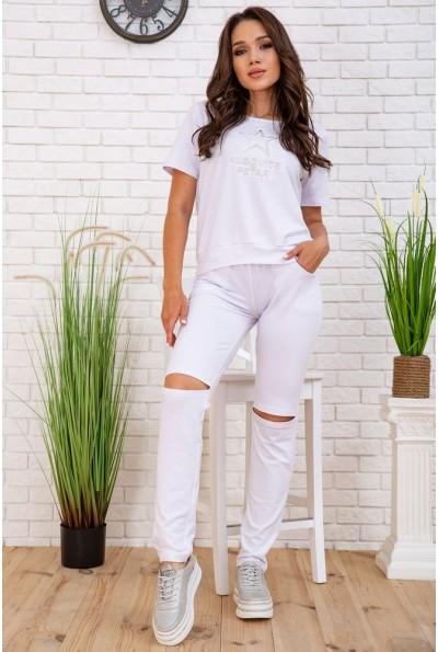 Летний женский костюм футболка и штаны с разрезами 167R132 цвет Белый 57699