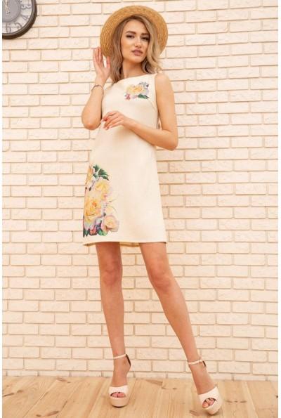 Короткое летнее платье с цветами Розы цвет Бежевый 172R016-1 55816