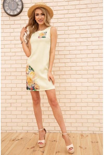 Короткое летнее платье с цветами Розы цвет Лимонный 172R016-1 55820