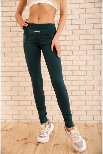 Женские леггинсы со вставками из эко-кожи цвет Зеленый 172R720 55331