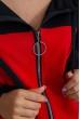 Красный спортивный костюм с капюшоном и декором в виде черно-белых полос 102R030 недорого