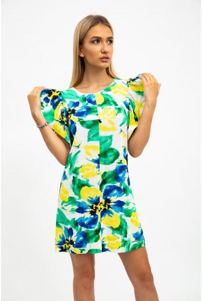 Платье женское, летнее, с эффектными рукавами-воланами, зелено-желтое 115R291-3