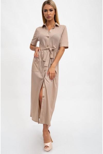 Платье женское, длинное бежевое с поясом 115R3731-2
