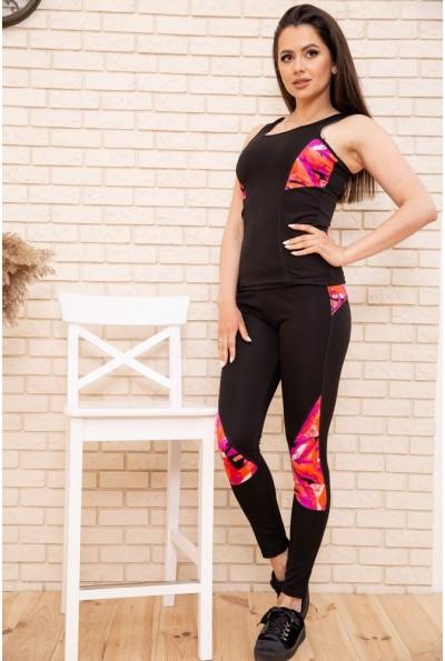 Спорт костюм женский 129R468-107 цвет Черно-коралловый