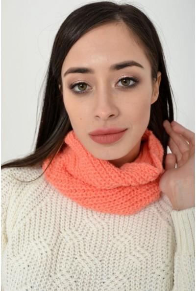 Вязаный женский хомут персикового цвета 103R066