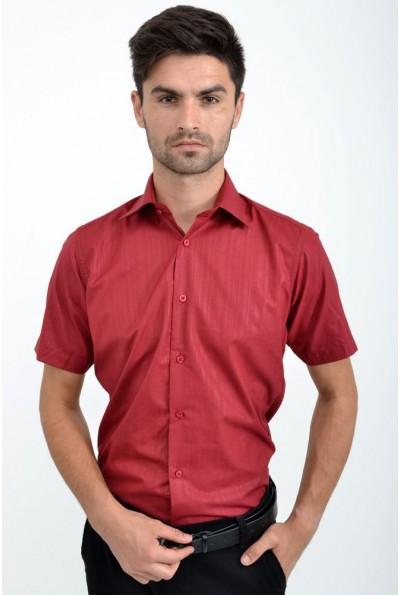 Вишневая рубашка однотонная полированный хлопок 889-11