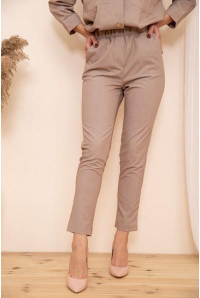 Укороченные женские брюки на резинке цвет Темно-бежевый 115R370-1 53734