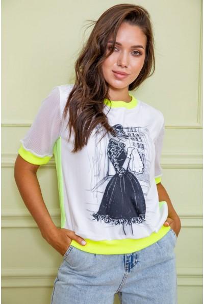 Футболка -блуза женская  167R250 цвет Бело-желтый 60827