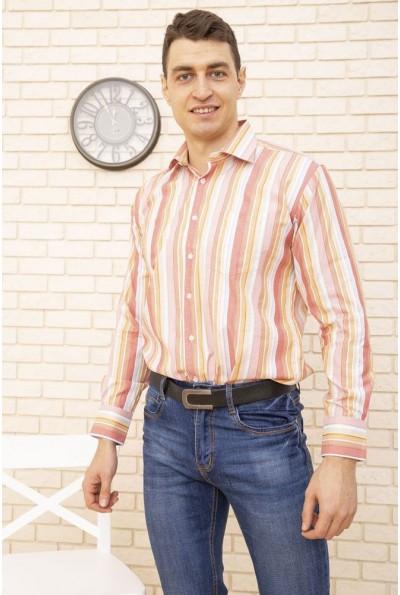 Рубашка классическая в полоску красный с оранжевым 732-4