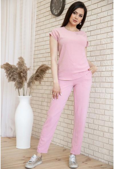 Костюм женский повседневный футболка и штаны Пудровый цвет 119R393 54556