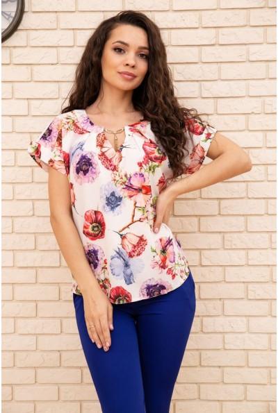 Блуза с цветочным принтом короткий рукав цвет белый 172R32-1 55360