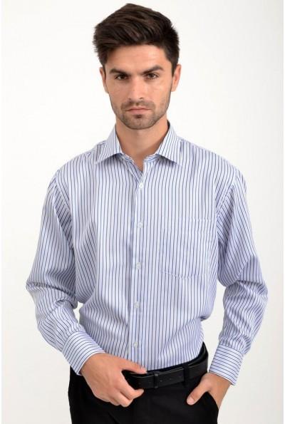 Рубашка мужская бело-синяя, в клетку 23#LS