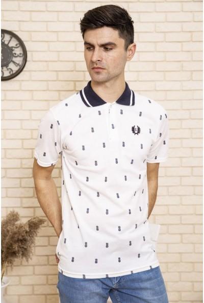 Поло мужское хлопковое с коротким рукавом цвет Белый 119R002-6 49768