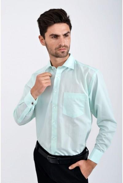 Мужская однотонная рубашка мятного цвета повседневная 502-227