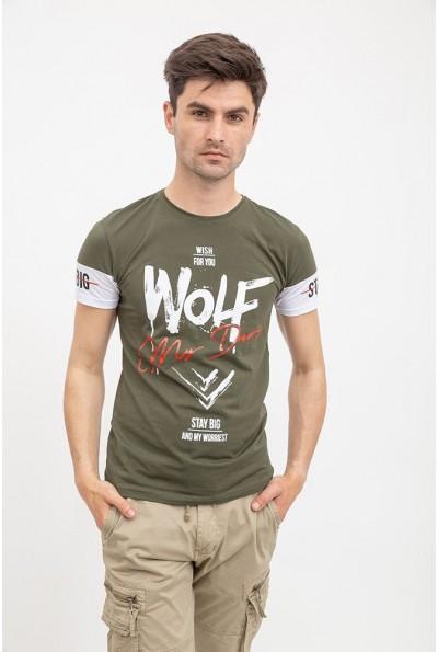 Футболка мужская хаки с надписью Wolf 119R080