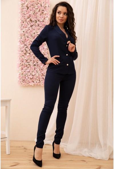 Брючный женский костюм с жакетом на пуговицах цвет Чернильный 167R1661 56284